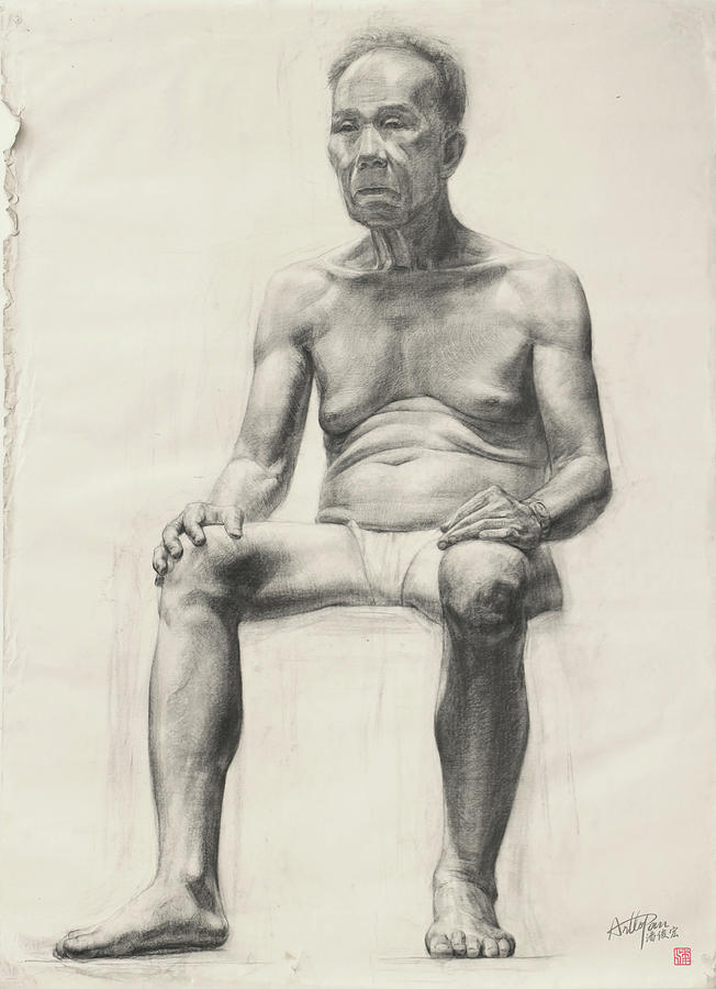 Old Man Full Body Image Arttopan Drawing Portrait Realistic Carbon Pencil Painting By Artto Pan