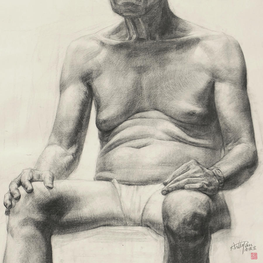 Old man full body image part arttopan drawing portrait realistic carbon pencil