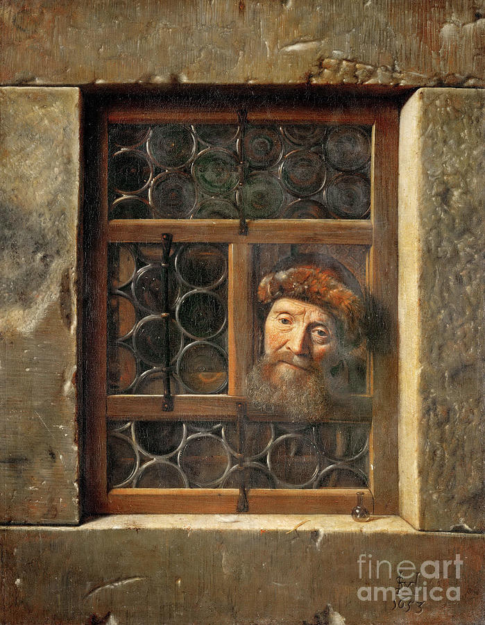 Old Man In The Window Drawing by Heritage Images