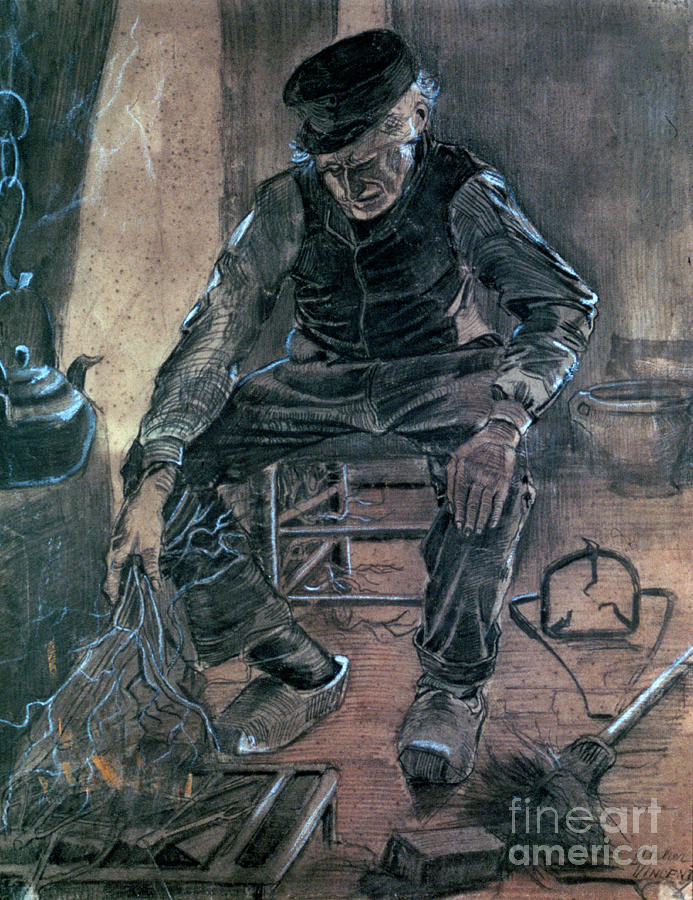 Old Man Kindling Wood, 1881. Artist Drawing by Print Collector