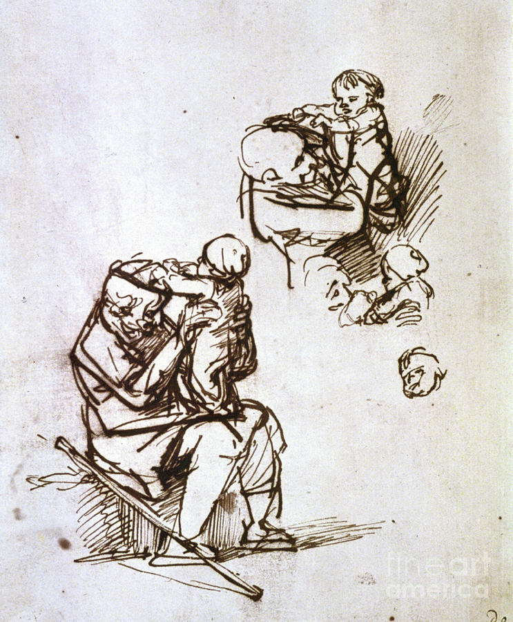 Old Man Playing With Child, 1635-1640 Drawing by Print Collector