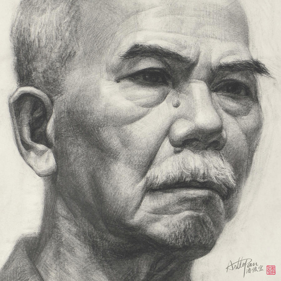 Old mans head portrait part arttopan drawing portrait realistic carbon pencil sketch