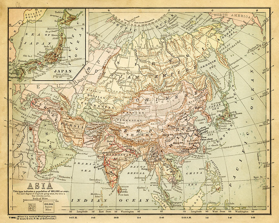 Old Map Of Asia Digital Art by Thepalmer