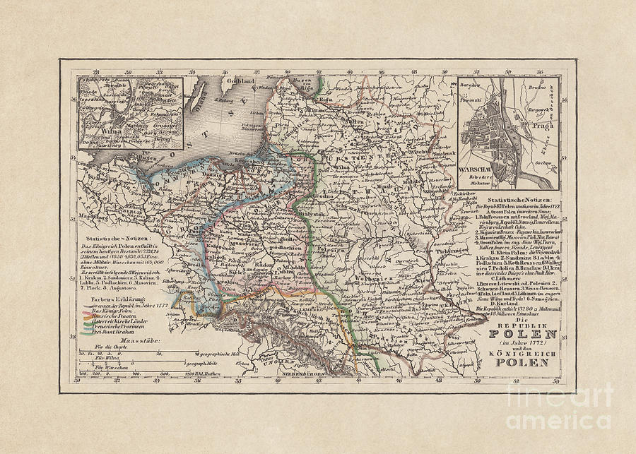 Old Map Of Poland, Steel Engraving Digital Art by Zu 09
