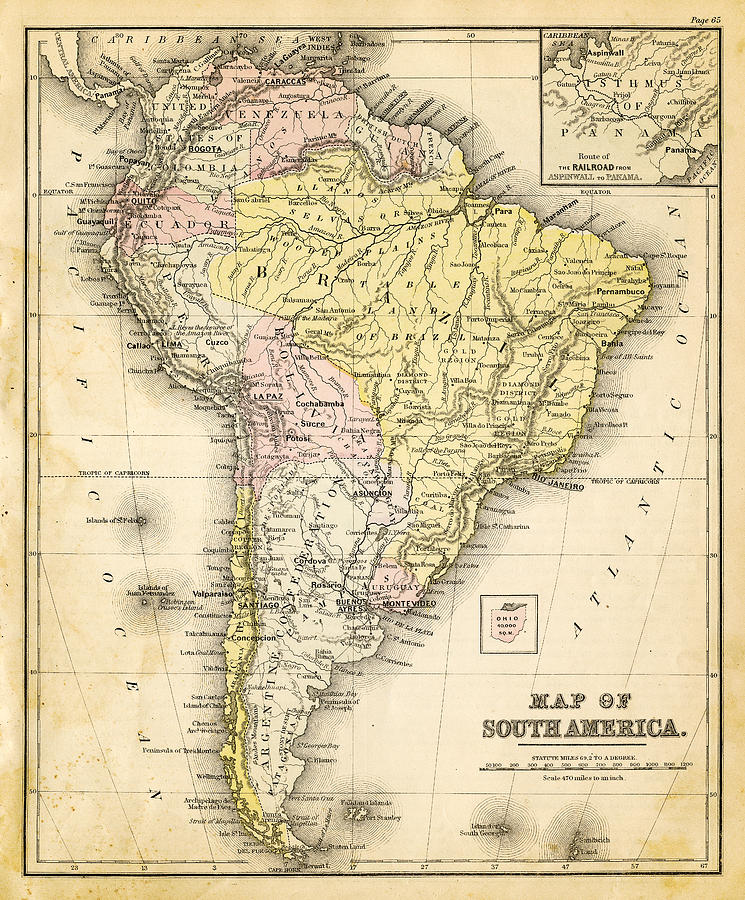 Old Map Of South America Photograph by Thepalmer