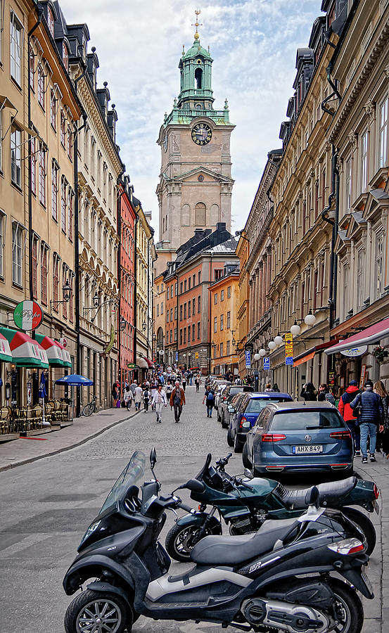 Old meets new on Storkyrkobrinken - Gamla Stan - Stockholm - Sweden by Tony Crehan