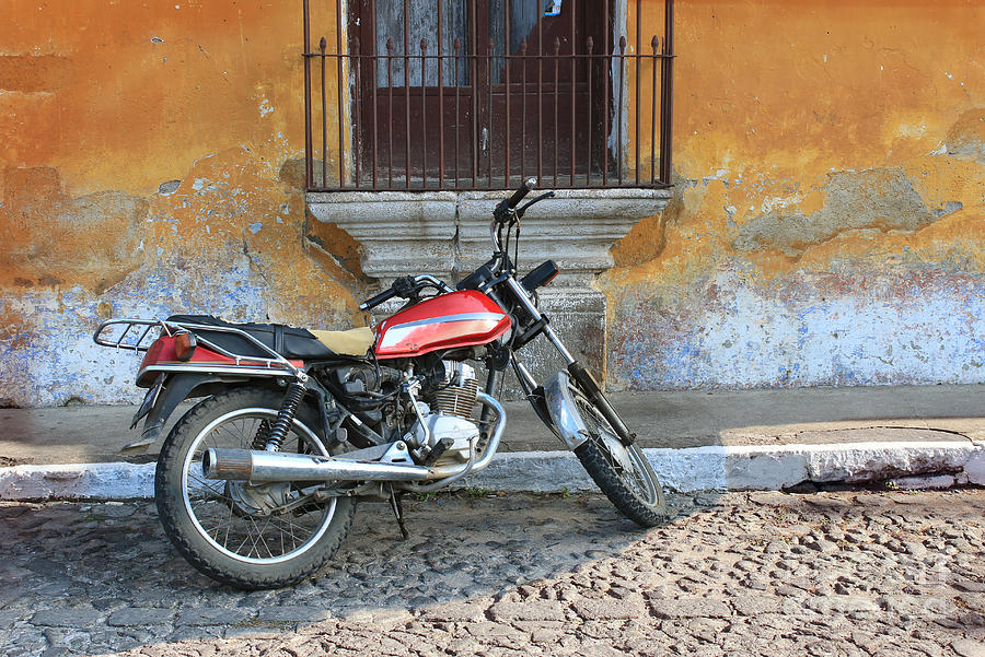 Shadow Photograph - Old Motorcyle In Colonial Antigua by Charles Harker
