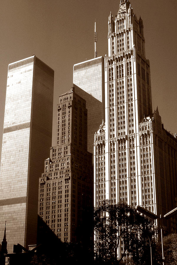Woolworth Building Photograph - Old New York Photo - Woolworth Building And World Trade Center by Peter Potter