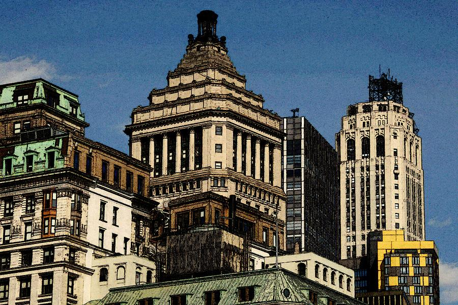 Old New York Skyline Drawing Painting By Peter Potter