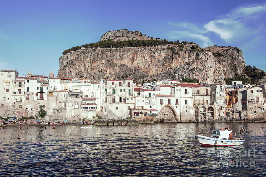 Fishing Boat Photograph - Old Town of Cefalu - Sicily by Stefano Senise