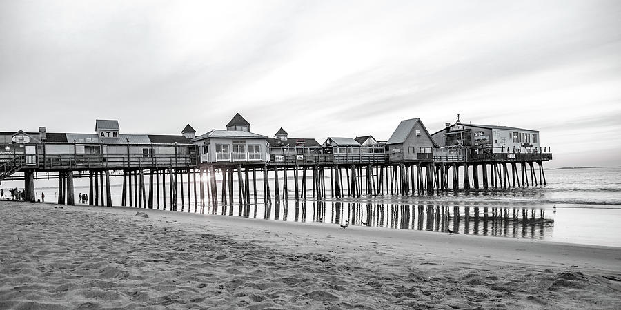 Old Photograph - Old Orchard Beach Pier Classic Sunrise by Betsy Knapp