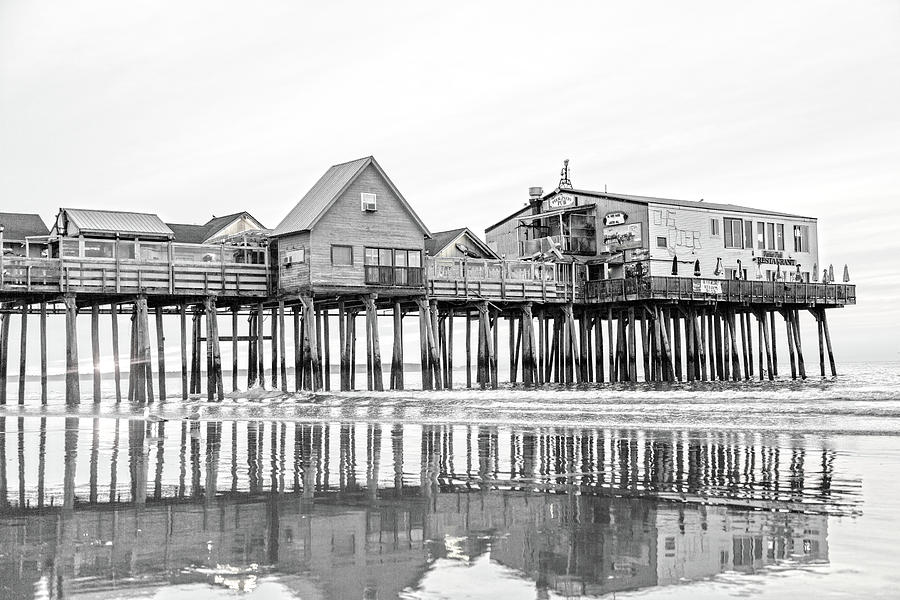 Old Photograph - Old Orchard Beach Pier Good Morning Classic by Betsy Knapp
