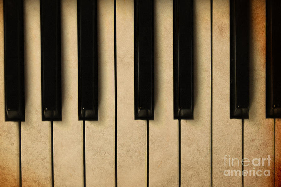 Note Photograph - Old Piano Vintage Background by Midiwaves