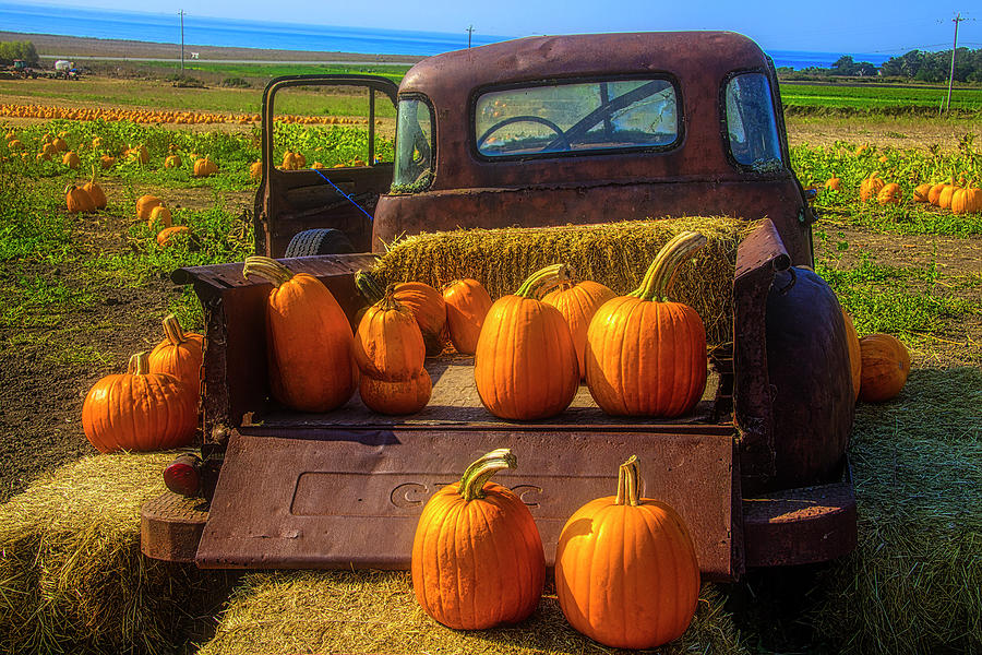 Old Pick Up Full Of Pumpkins by Garry Gay