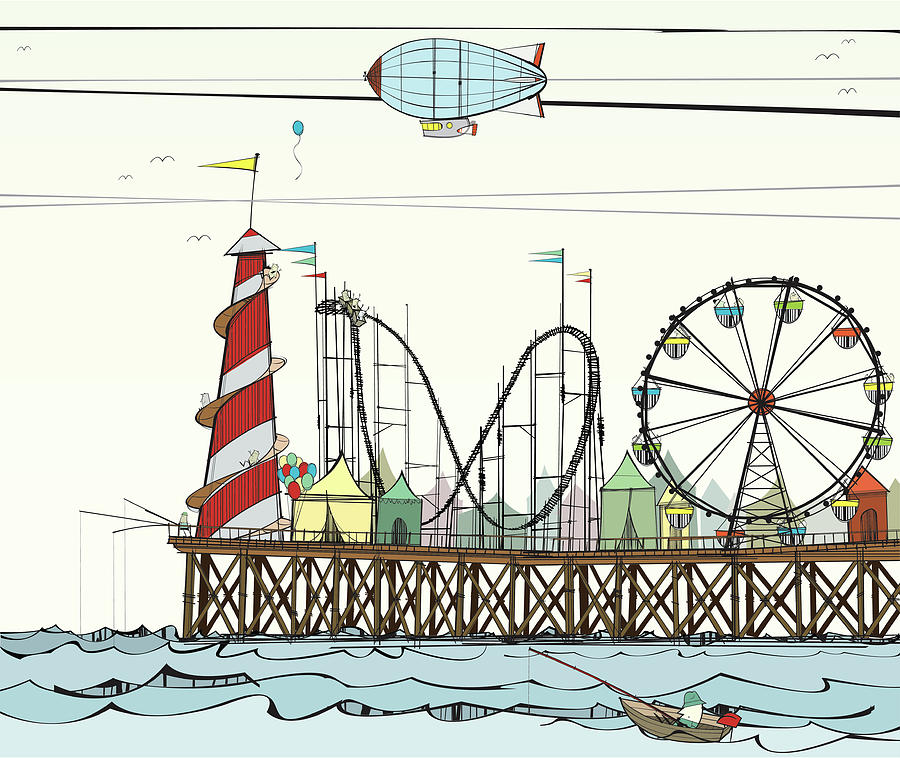 Old Pier With Fairground Attractions Digital Art by Jcgwakefield