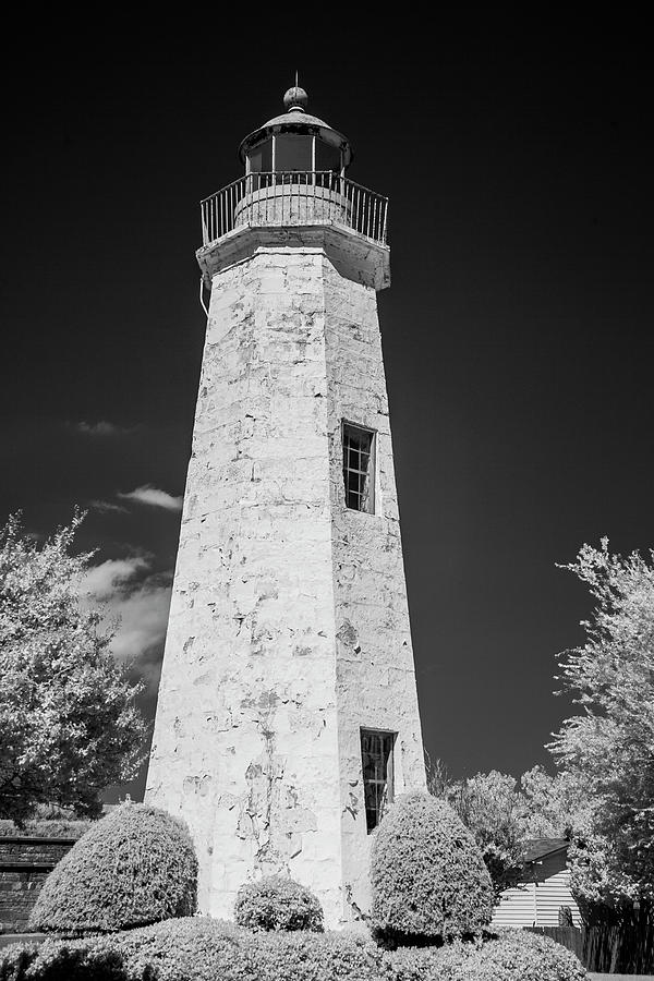 Old Point Comfort Lighthouse in black and white by Karen Foley