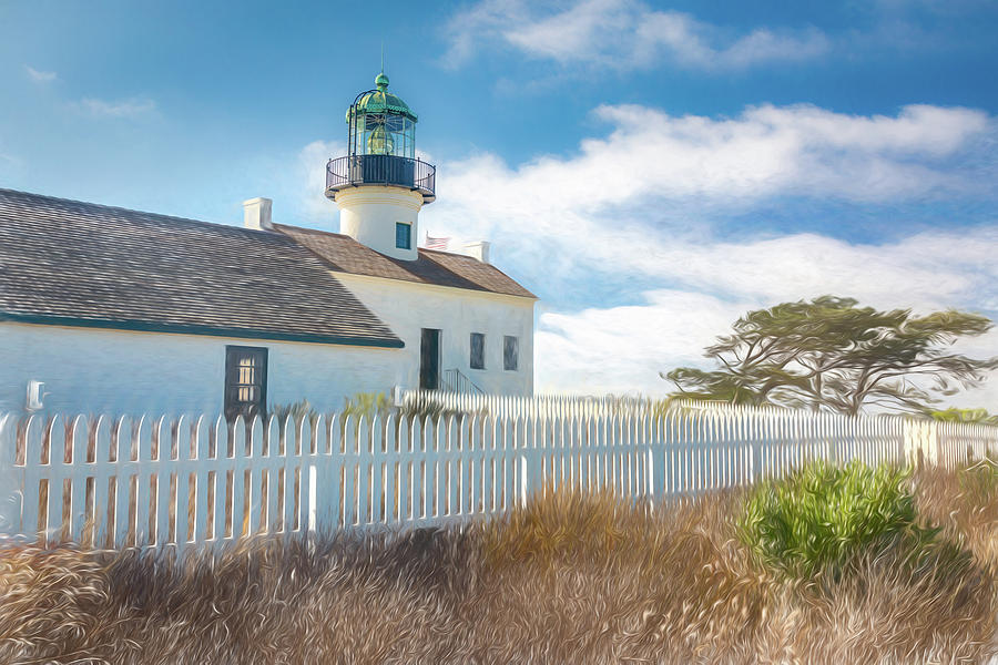 Old Point Loma Lighthouse - Painterly by Peter Tellone
