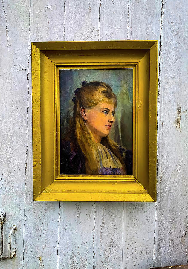 Old Photograph - Old Portrait Hanging On Door by Garry Gay