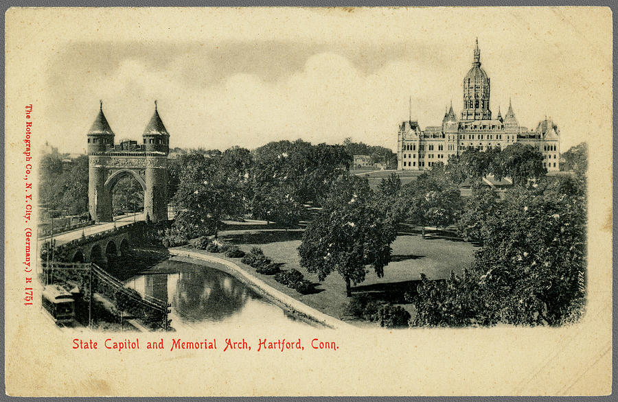 Old Postcard of Hartford Connecticut by Phil Cardamone