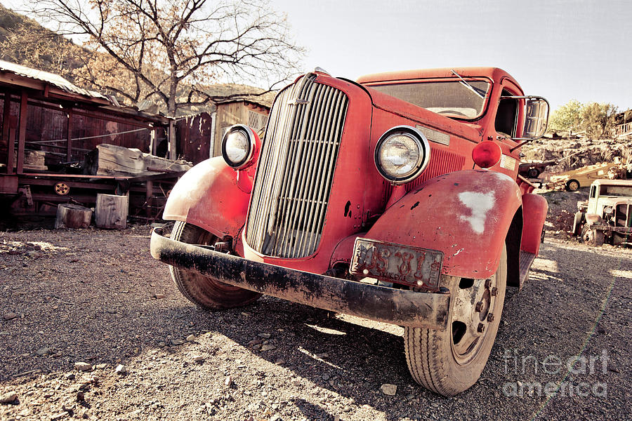 Truck Photograph - Old Red Truck Jerome Arizona by Edward Fielding