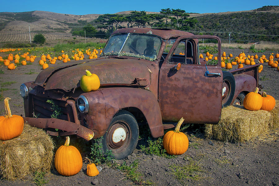 Old Rusting Truck In Pumpkin Patch by Garry Gay