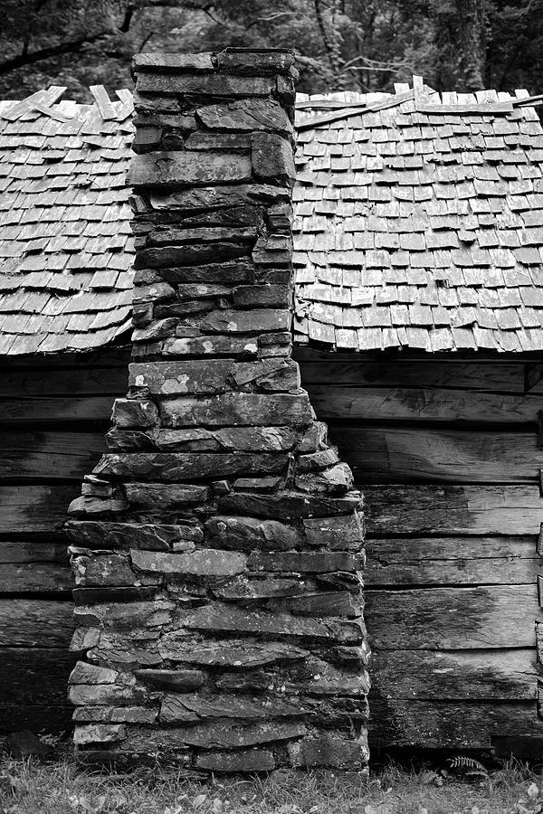 Old Smokes Black and White Stone Chimney by T Lynn Dodsworth