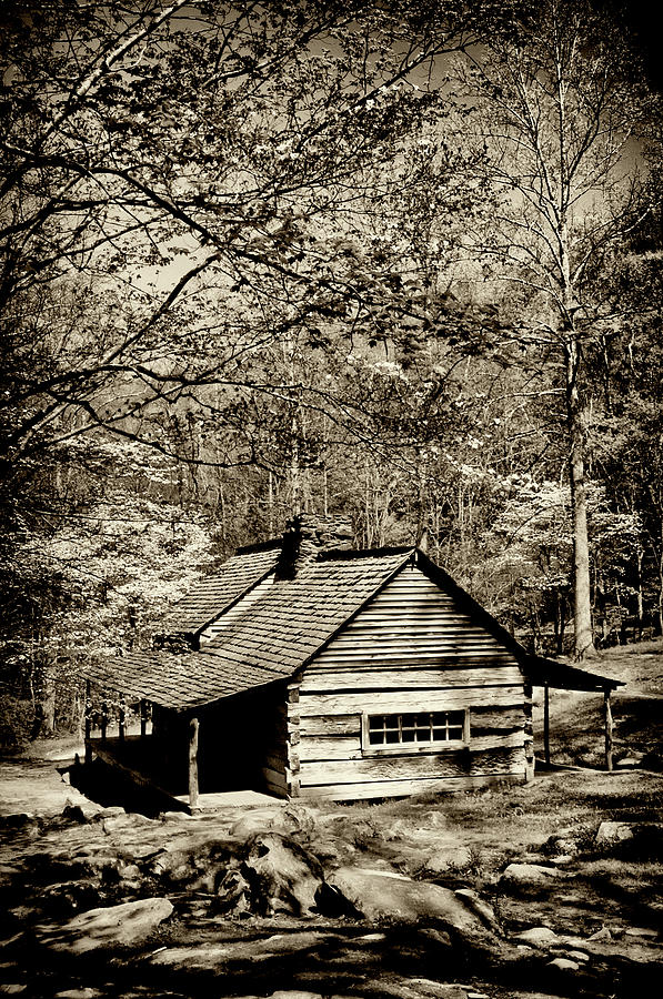 B&w Photograph - Old Smoky Mtn Cabin by Paul W Faust -  Impressions of Light