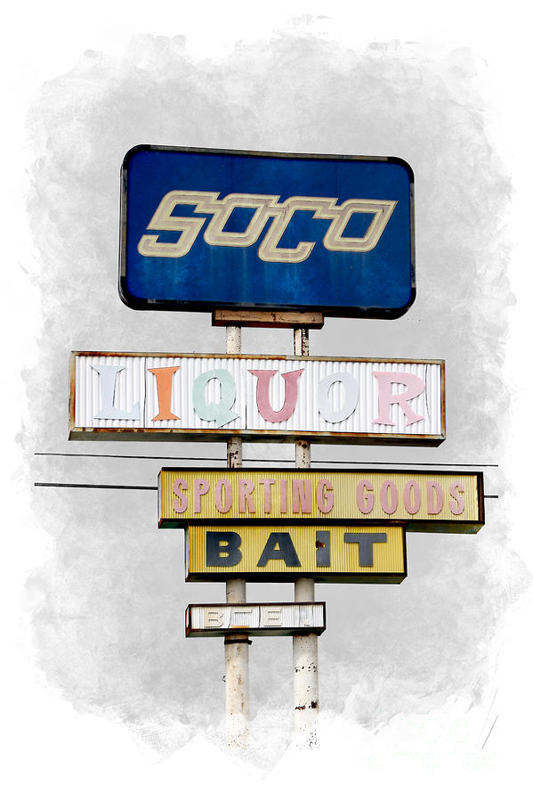 Old SoCo Sign Salton Sea Selective Coloring Digital Art by Colleen Cornelius