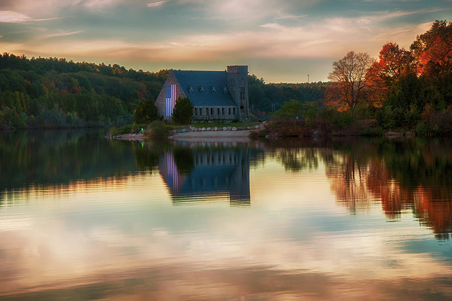 Old Stone Church in Fall by Joann Vitali