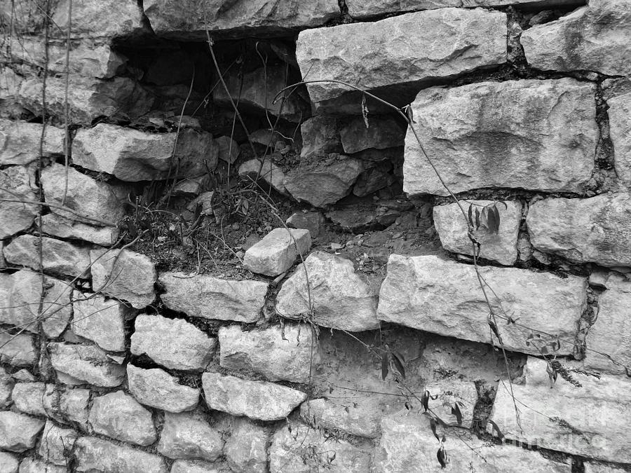 Black And White Photograph - Old Stone Wall by Phil Perkins