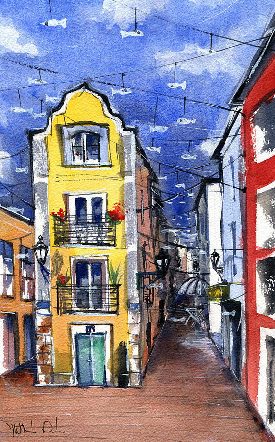 Old Street in Setubal Portugal by Dora Hathazi Mendes