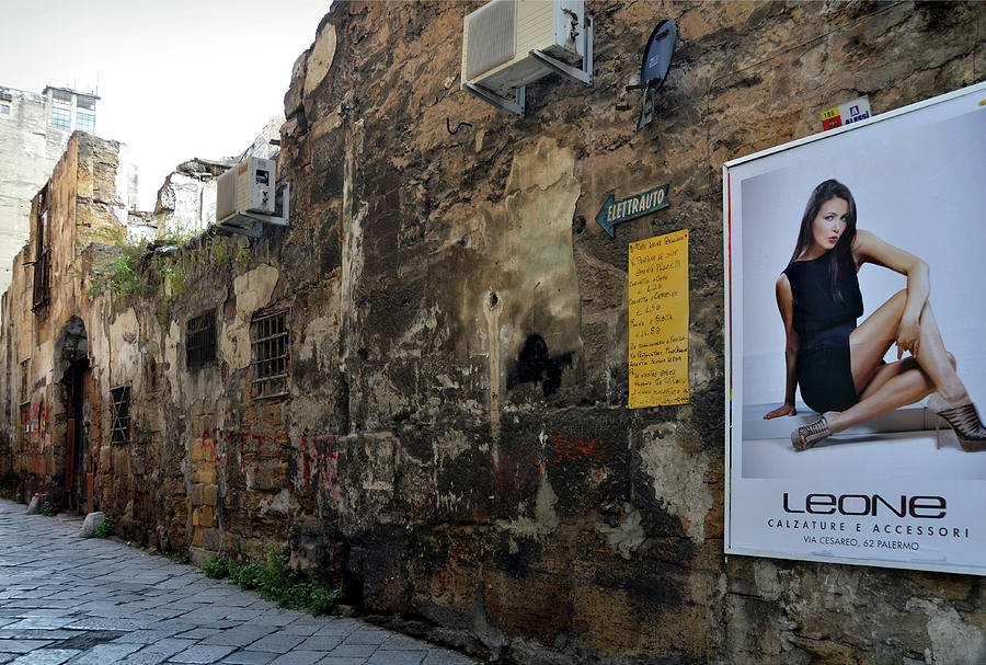Old street with modern advertisement  in Palermo by RicardMN Photography