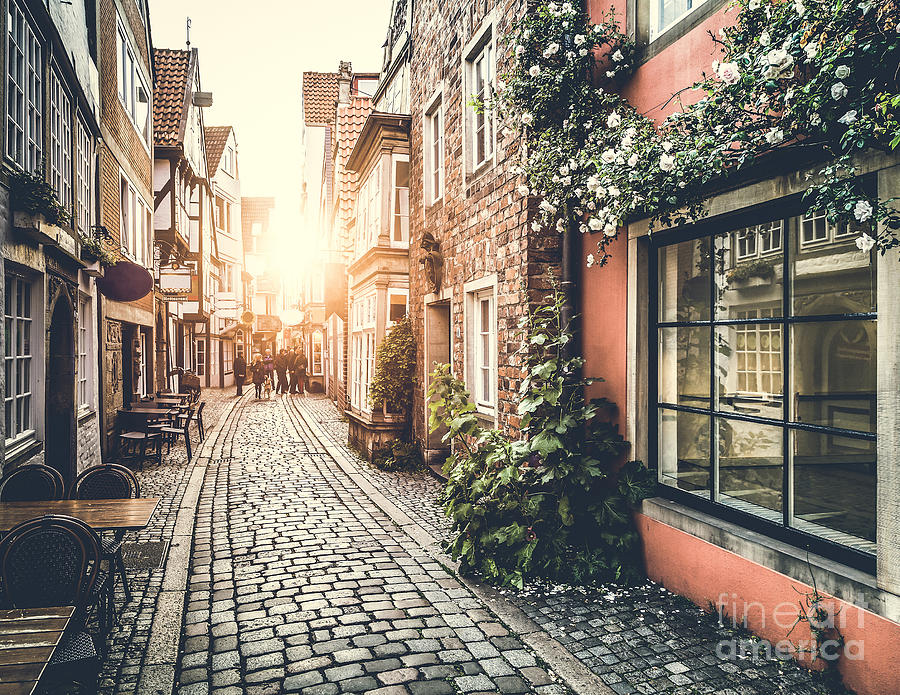 Facade Photograph - Old Town In Europe At Sunset With Retro by Canadastock