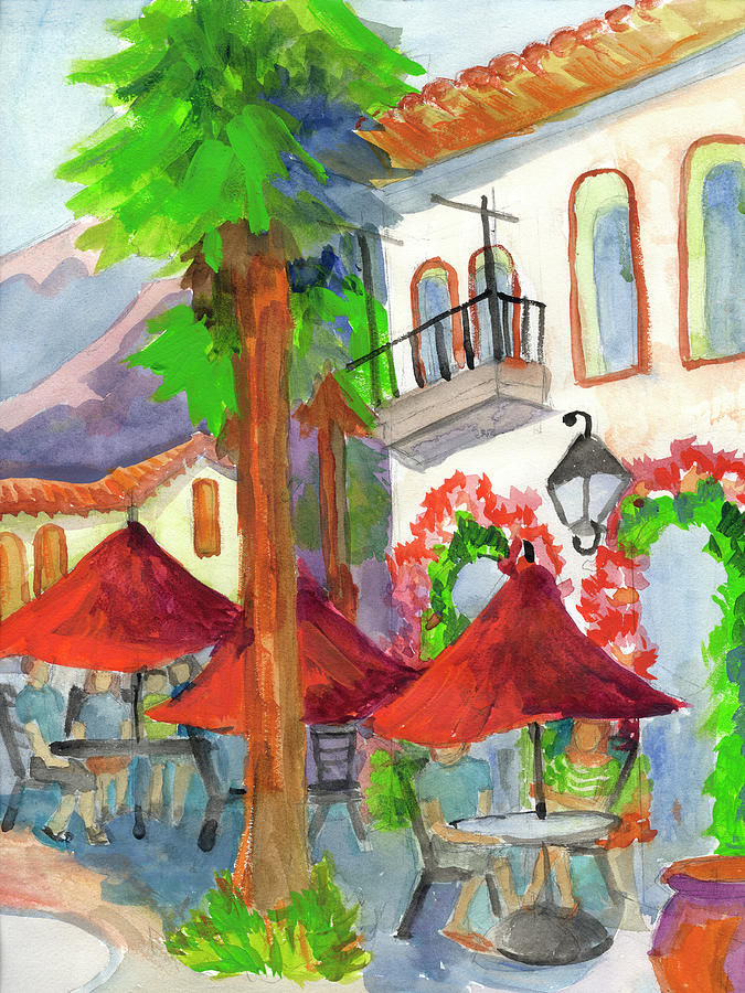 Coffee Painting - Old Town La Quinta Coffee Shop by Diane McClary