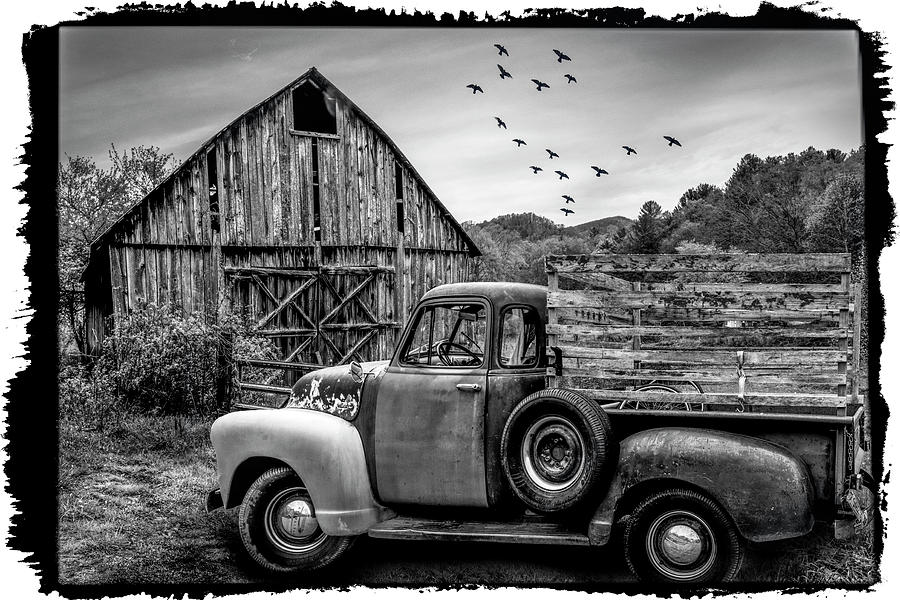 1947 Photograph - Old Truck At The Barn Bordered Black And White by Debra and Dave Vanderlaan