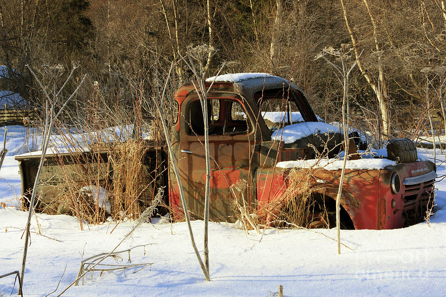 Old Photograph - Old Truck In Winter Snow In Hope Alaska by Louise Heusinkveld