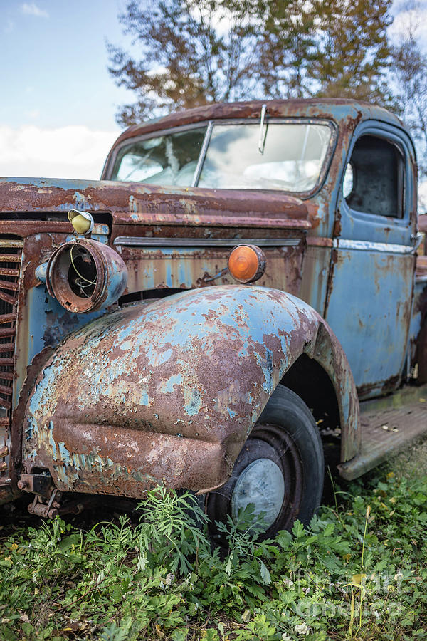 Automobile Photograph - Old Vintage Blue Pickup Truck Among The Weeds by Edward Fielding