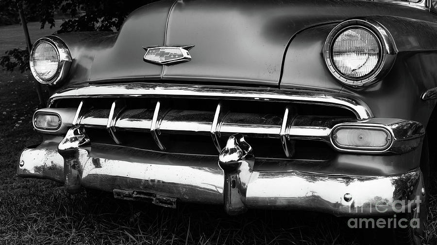 Chevy Photograph - Old Vintage Chevy Power Glide 1950s Automobile Black And White by Edward Fielding