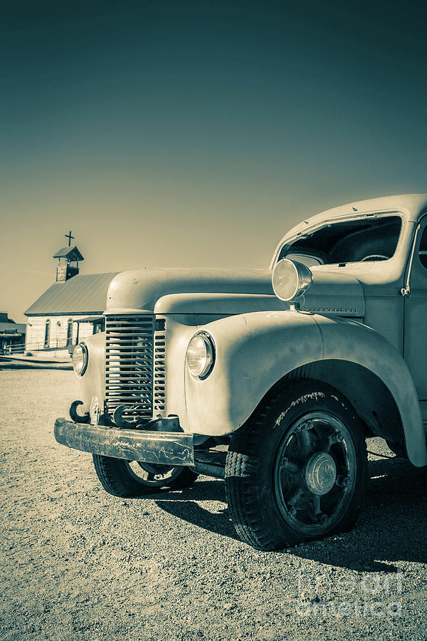 Apache Junction Photograph - Old Vintage Fire Truck Ghost Town by Edward Fielding