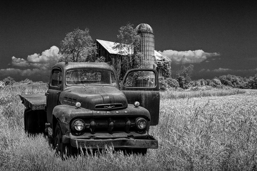 Old Vintage Ford Truck on Abandoned Farm in Black and White by Randall Nyhof