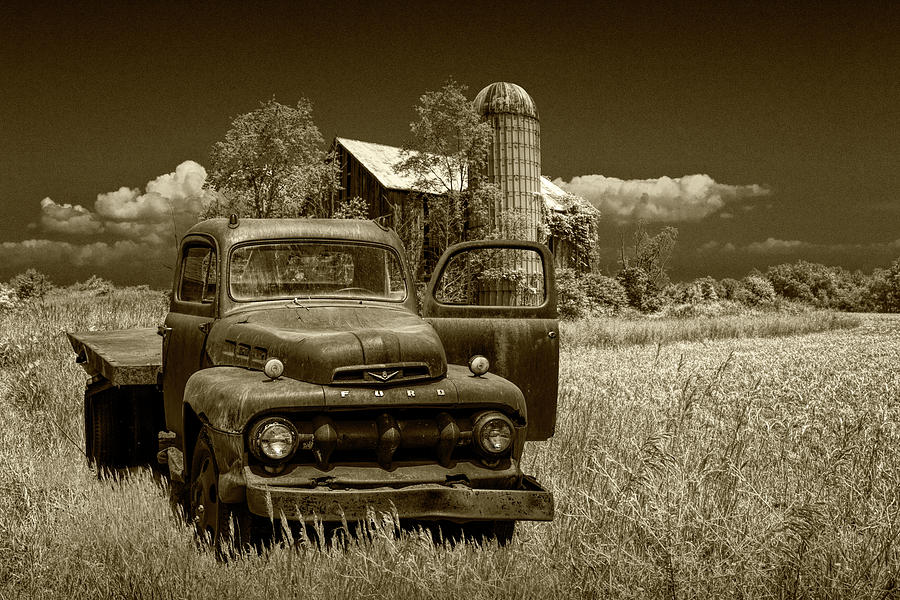 Old Vintage Ford Truck on Abandoned Farm in Sepia Tone by Randall Nyhof