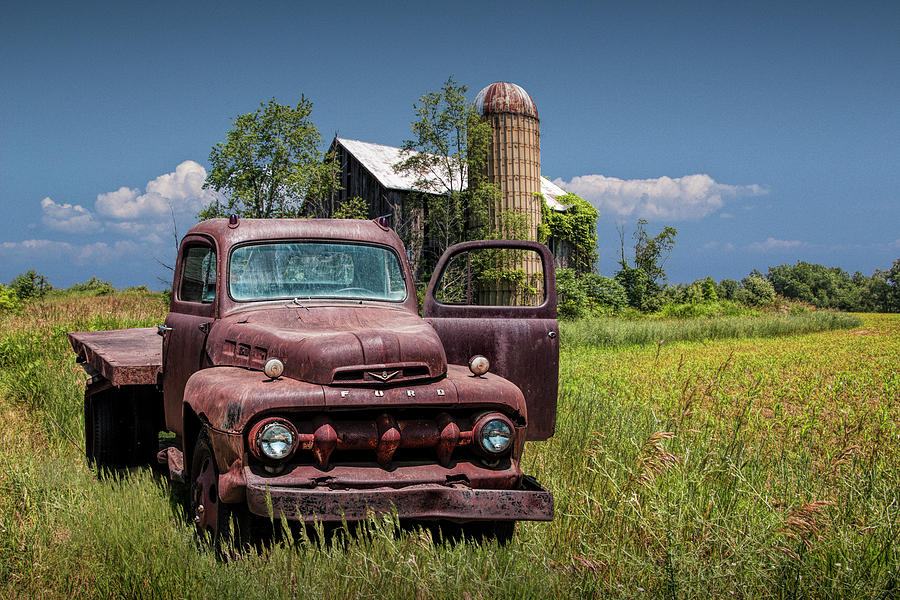 Old Vintage Ford Truck on Abandoned Farm by Randall Nyhof