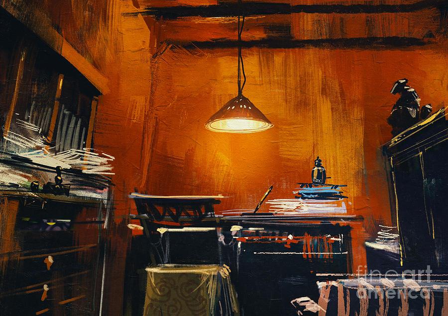 Studio Digital Art - Old Vintage Workspace In Orange by Tithi Luadthong