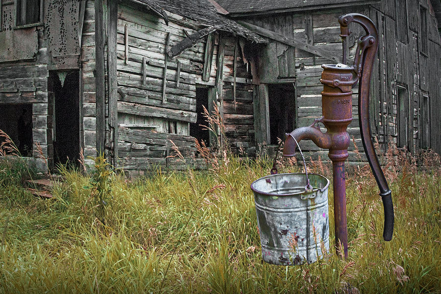 Old Water Pump with Metal Bucket by an Old Weathered Abandoned F by Randall Nyhof