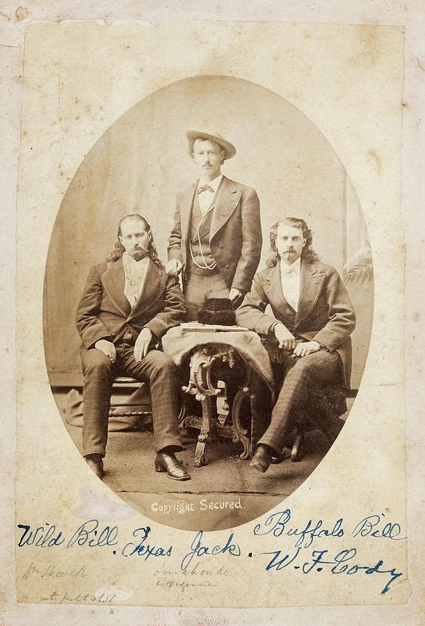 Wild Bill Photograph - Old West Legends - Wild Bill Hickok - Texas Jack Omohundro - Buffalo Bill Cody  C. 1873 by Daniel Hagerman