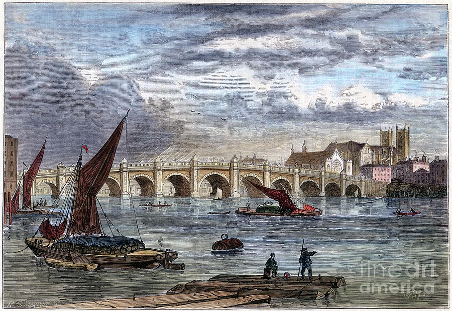 Old Westminster Bridge In 1754, 19th Drawing by Print Collector