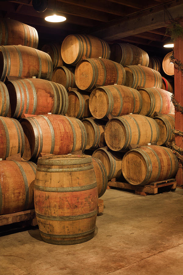 Old Wine Barrels Stacked In Winery Photograph by Yinyang