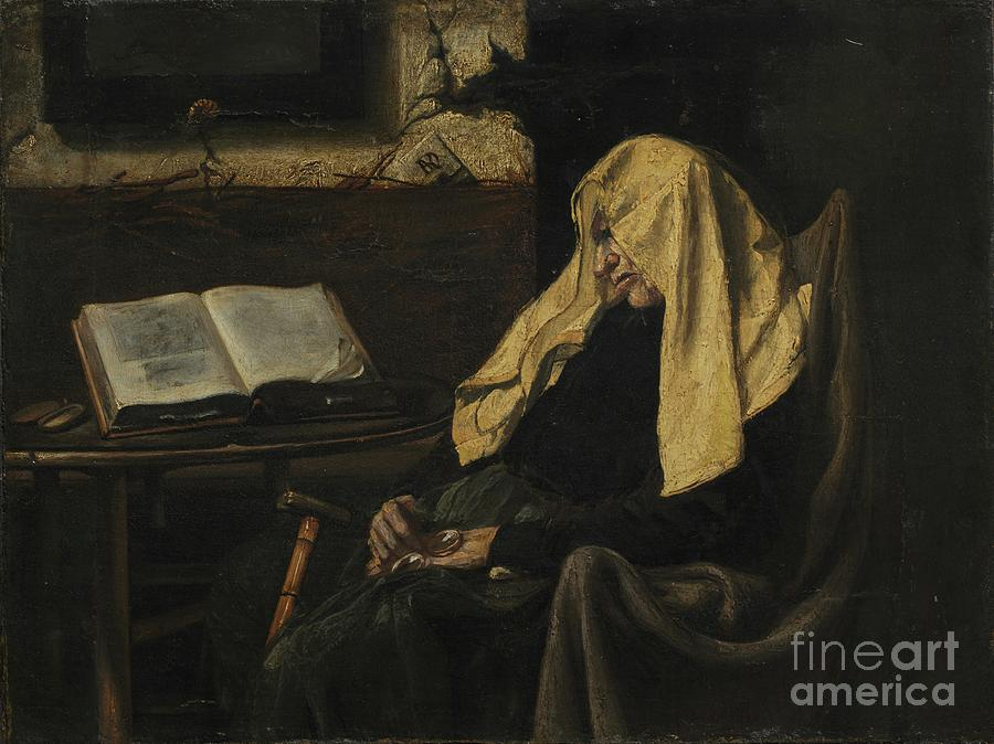 Old Woman Asleep Drawing by Heritage Images