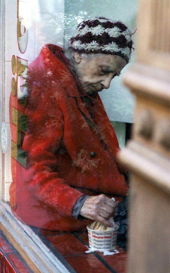 Old Woman Eating Haagen Dazs Ice Cream