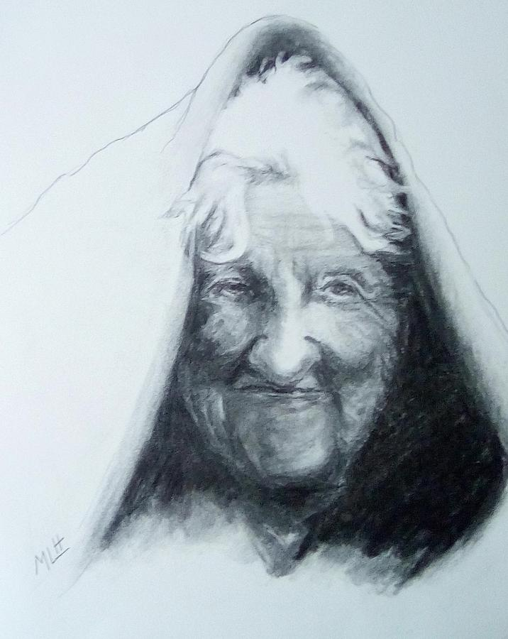 Charcoal Painting - Old Woman by Marcia Hochstetter